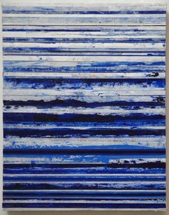 Blue & White Bands, Abstract oil and wax collage
