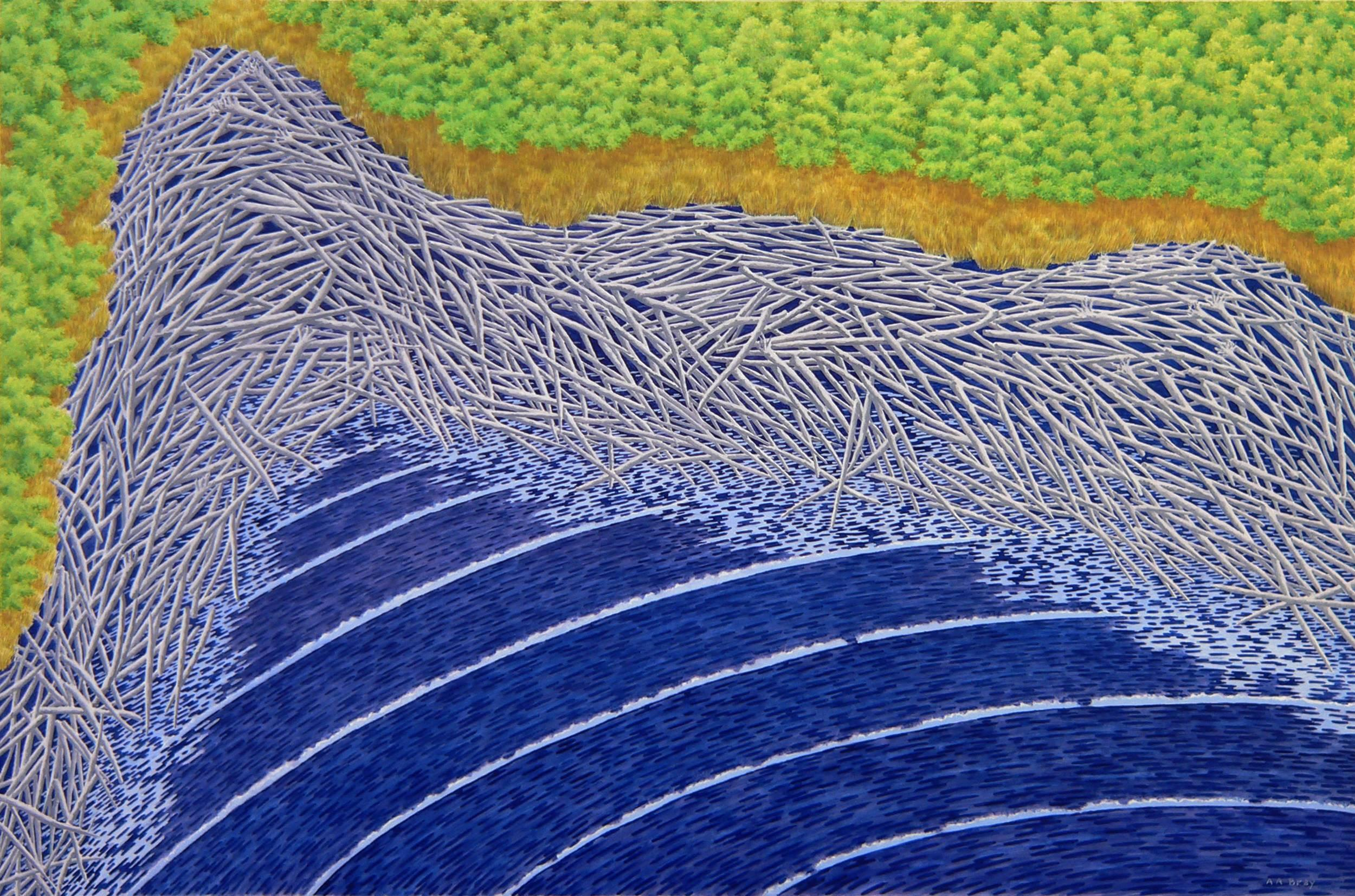 Dri-Ki, blue and green Casein on panel Maine landscape painting, 2015