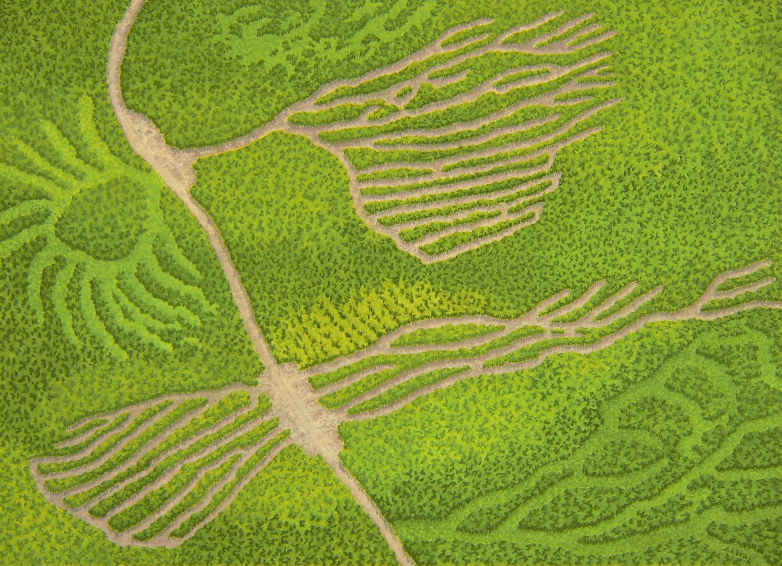 Terrain Vague, green Casein Maine landscape painting, 2015