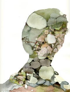 Sandy Litchfield, Bust 4, Figurative watercolor, ink, and collage painting, 2007