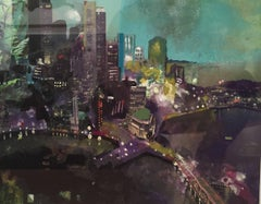 Sandy Litchfield, Study for Metropolush, Gouache on paper cityscape, 2011