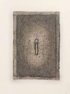 Tamiko Kawata, A Paper Clip, Charcoal on canvas still life drawing, 2008