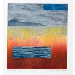 Opus 11, Ukiyo-e monotype print with platinum leaf landscape, 2008