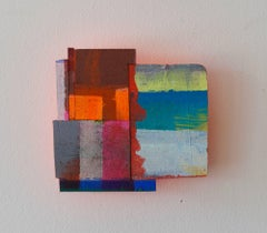 Detritus #32, multicolored acrylic on pressed wood abstract wall sculpture, 2017