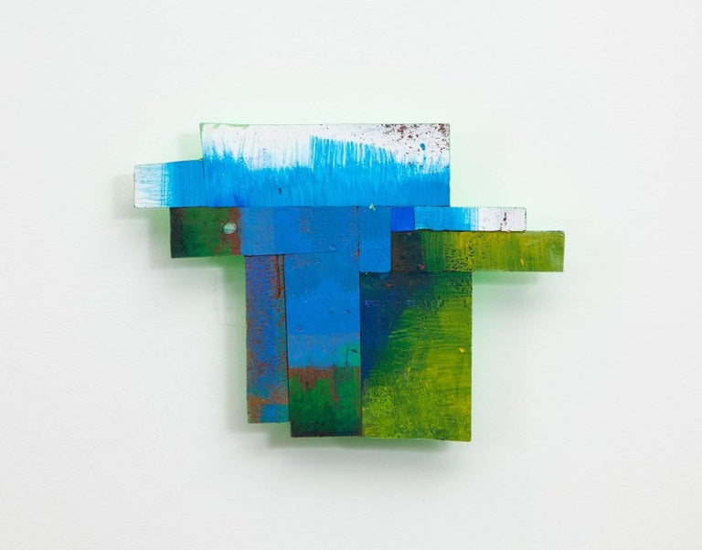 Joan Grubin, Detritus #21, Acrylic on pressed wood abstract wall sculpture, 2017