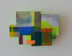 Detritus #31, multicolored acrylic on pressed wood abstract wall sculpture, 2017