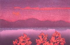 Twilight, pink and purple Ukiyo-e woodblock print landscape, 2012