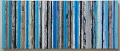 Strata, Blue & Black, Abstract oil and wax collage