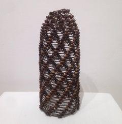 Tamiko Kawata, Medium size Rust, Abstract steel safety pin sculpture, 2017