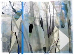 Sandy Litchfield, Scrap Paper and Woods 2, Abstract gouache and print collage