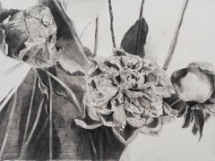 Julia Randall, Dead Flowers, Photorealist graphite on paper drawing, 2016