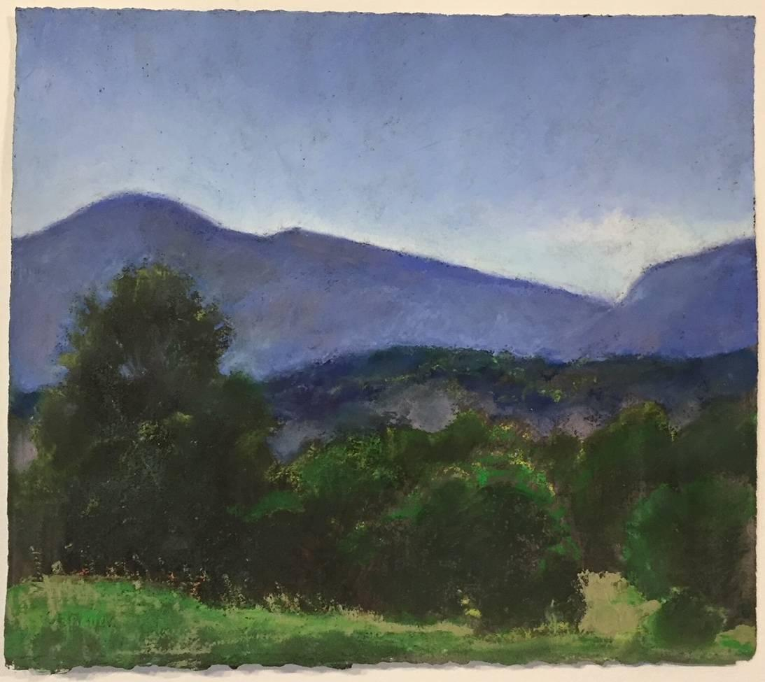 Late Summer Light, Germantown, blue and green oil pastel twilight landscape