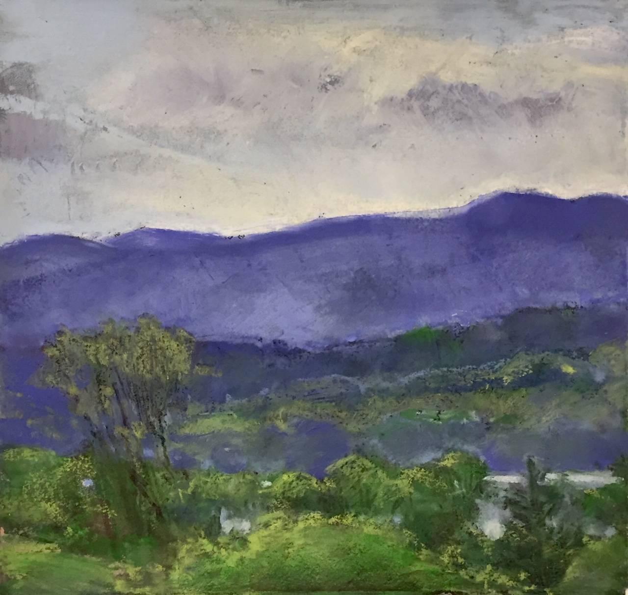 Magic Mountain, contemporary impressionist oil pastel landscape