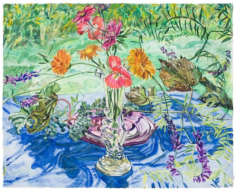 Janet Fish, Wild Grapes and Flowers, 1998, Still life water color on paper
