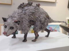 Will Kurtz, Opossum and Her Babies, figurative newspaper scupture, 2018