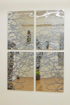 J Ivcevich, Mirror Mandala (Razor Wire), Abstract ink on polished steel painting