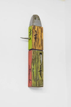 J Ivcevich, Double Color Relic, Tribal reclaimed wood and ceramic sculpture