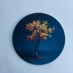 Dina Brodsky, Tree, Mid-Autumn, realist oil on copper miniature tondo, 2018