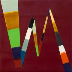 Kathy Cantwell, Walking Line 17, abstract geometric encaustic on panel painting