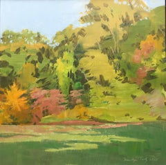 Marilyn Turtz, Autumn Colors, impressionist landscape oil on wood painting, 2015