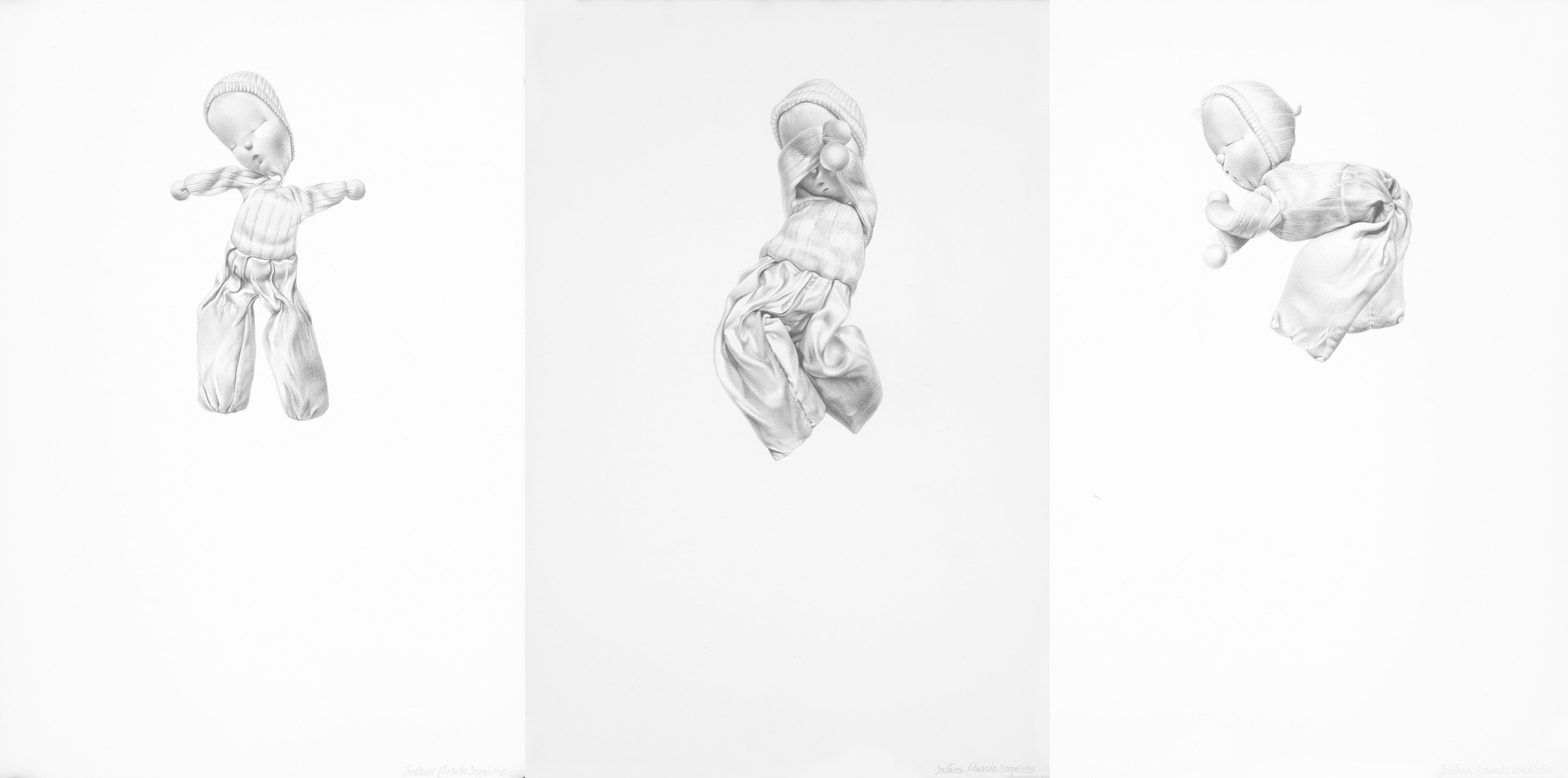 Something to Live For 1, 2, and 3pm, gray realist figurative graphite drawing