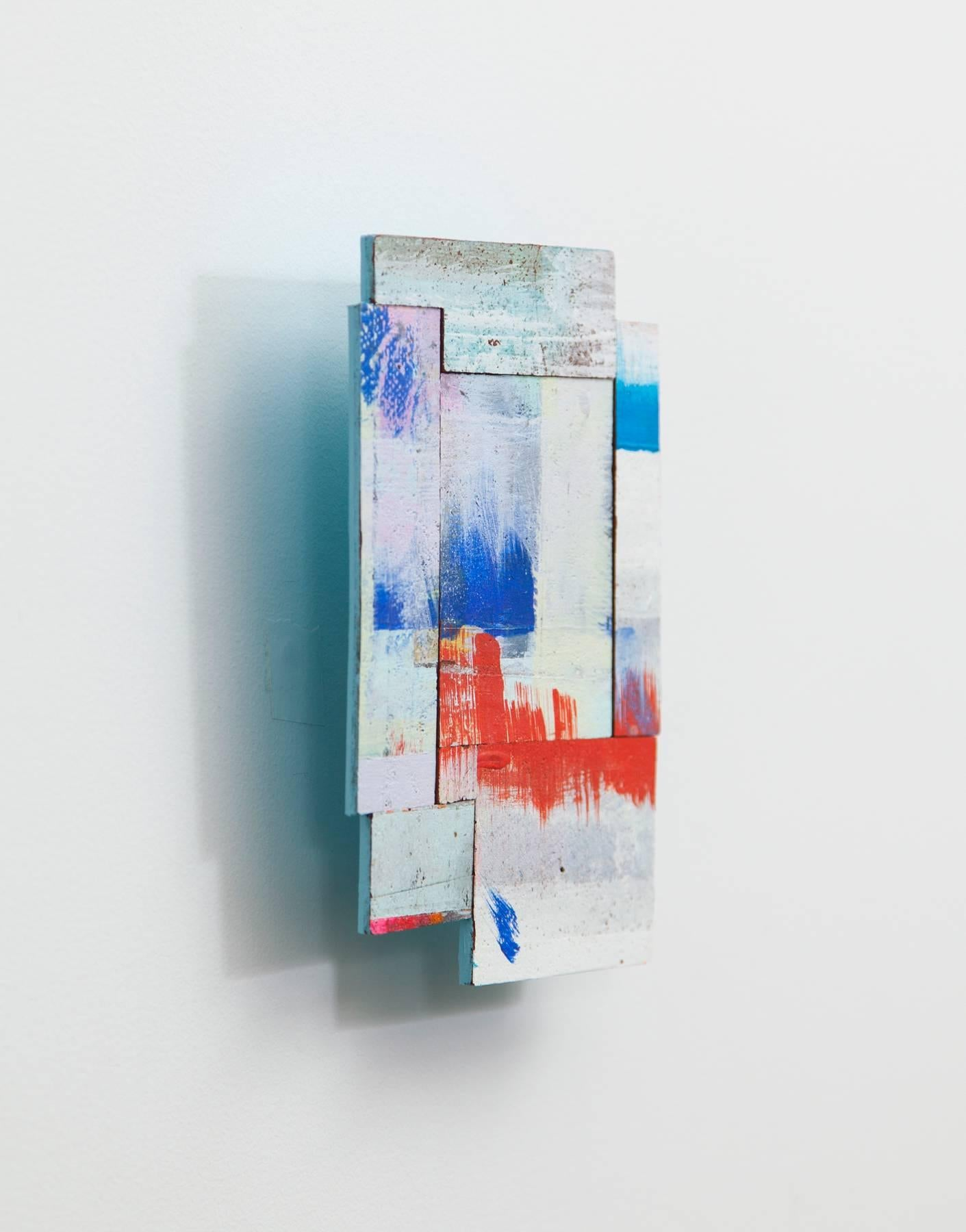 Detritus #4, multicolored acrylic on pressed wood abstract wall sculpture, 2015