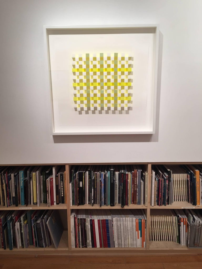Joan Grubin, Lattice #9, Acrylic on paper abstract optical wall sculpture, 2010 For Sale 3