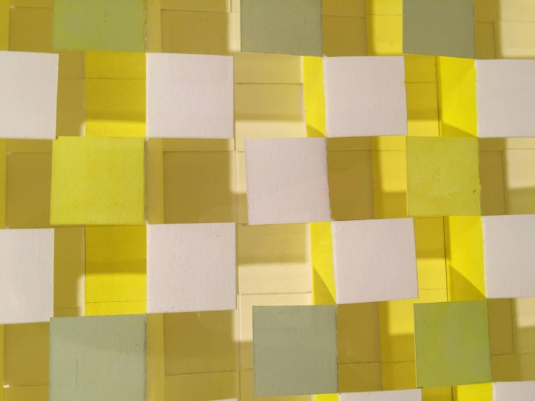 Joan Grubin, Lattice #9, Acrylic on paper abstract optical wall sculpture, 2010 For Sale 1