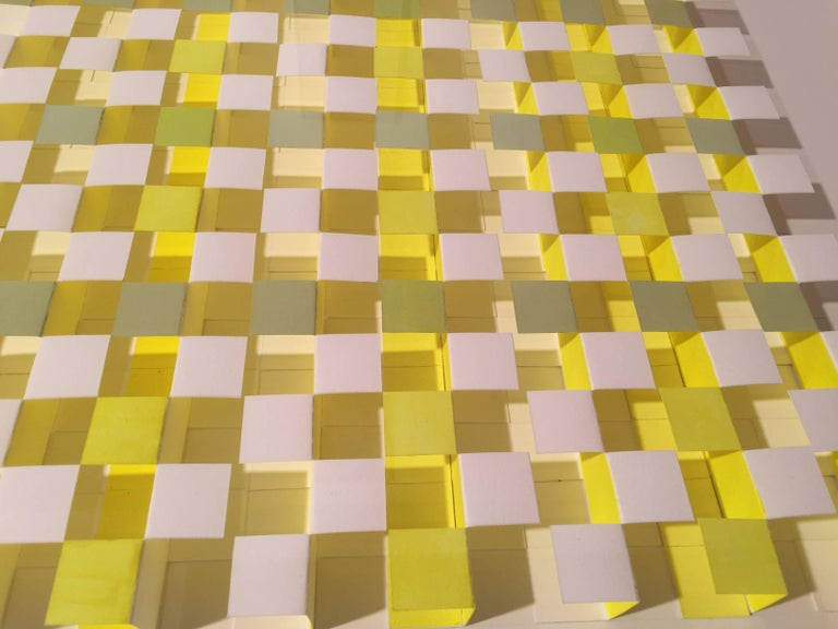 Joan Grubin, Lattice #9, Acrylic on paper abstract optical wall sculpture, 2010 For Sale 2