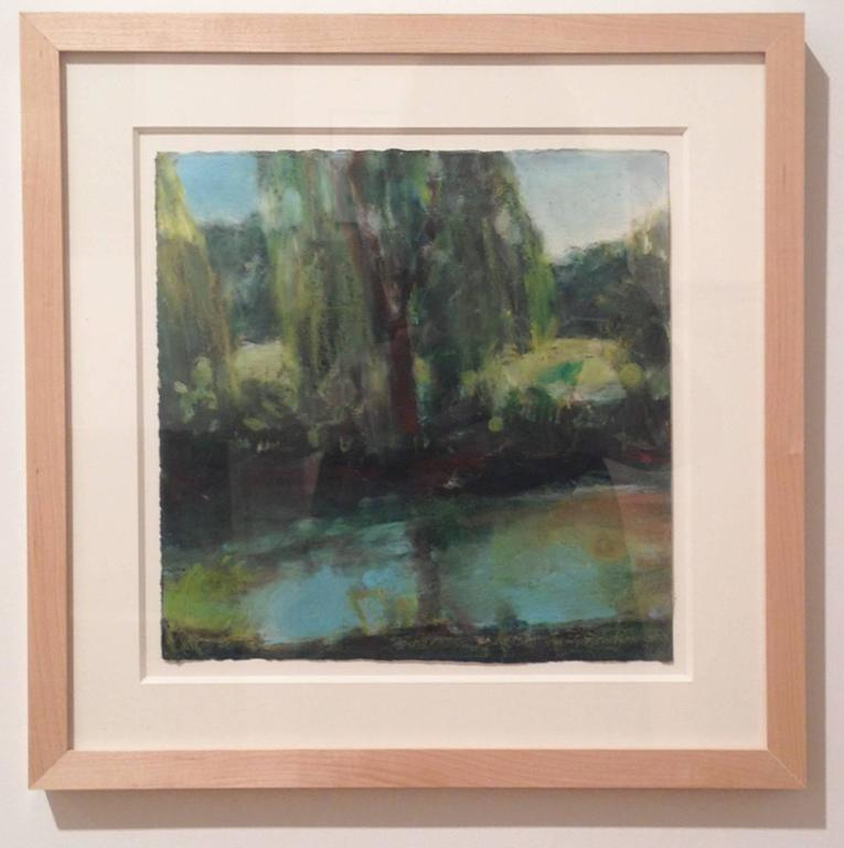 Daisy Craddock, Willow (1st Turquoise), Oil pastel landscape, 2010 For Sale 1