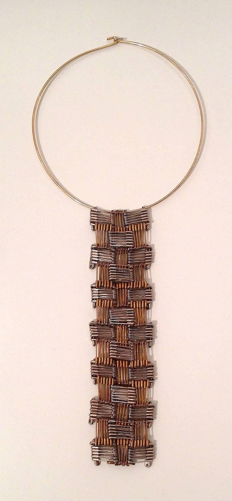 Tamiko Kawata, Tie Necklace, silver, brass, and nickel safety pin wearable art - Art by Tamiko Kawata
