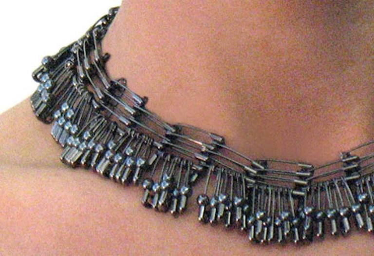 Tamiko Kawata, Morning Dew Necklace 2, Hematite beads and steel safety pins