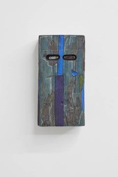 J Ivcevich, Excavated Soul (Blue), mixed media outsider art sculpture, 2018