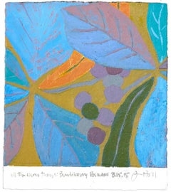 Jim Holl, Bunchberry Dog Wood 8.15.15, organic abstract oil on paper painting