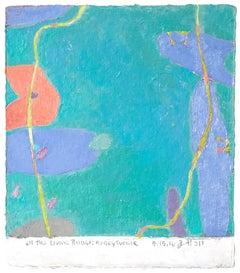 Jim Holl, Honeysuckle 5.15.16, organic abstract oil on handmade paper painting
