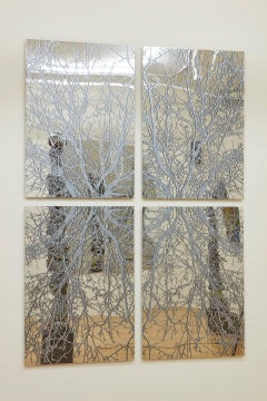 J Ivcevich, Mirror Mandala (Trees), Abstract ink on polished steel painting