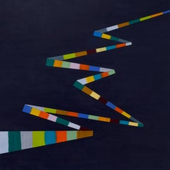 Kathy Cantwell, Walking Line 28, abstract geometric encaustic on panel painting