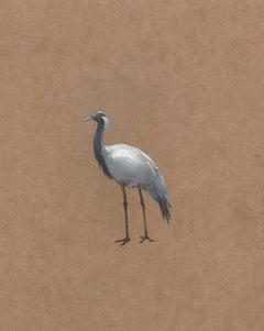 Dina Brodsky, Crane, realist oil on wax paper animal miniature, 2018