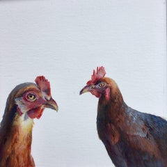 Dina Brodksy, Chickens, realist gouache on paper miniature, 2018