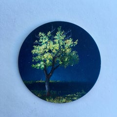 Dina Brodsky, Tree, Mid-Spring, realist oil on copper miniature tondo, 2018