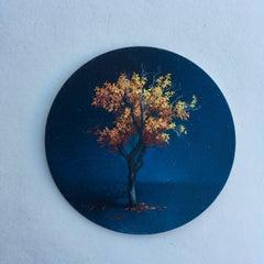 Dina Brodsky, Tree, Mid-Autumn, realist oil on copper miniature tondo, 2018