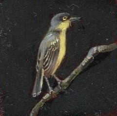 Dina Brodsky, Tiny Yellow Bird, realist oil on mylar animal miniature, 2018