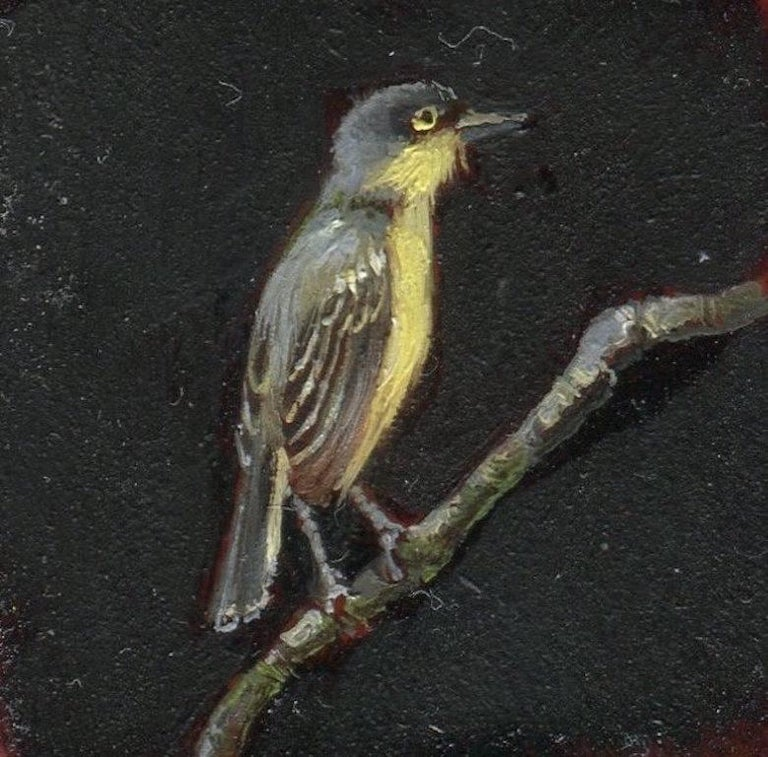 Dina Brodsky, Tiny Yellow Bird, realist oil on mylar miniature, 2018 - Painting by Dina Brodsky