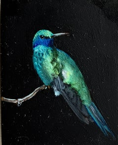 Dina Brodsky, Blue Hummingbird, realist oil on mylar animal miniature, 2018