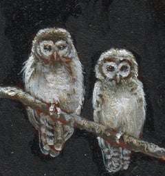 Dina Brodsky, Tiny Owls, Realist oil on mylar miniature, 2018