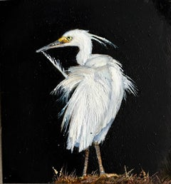 Dina Brodsky, Egret, Realist oil paint on mylar animal miniature, 2018