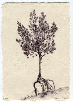 Dina Brodsky, Tree No. 24, Ballpoint pen on paper figurative miniature, 2015