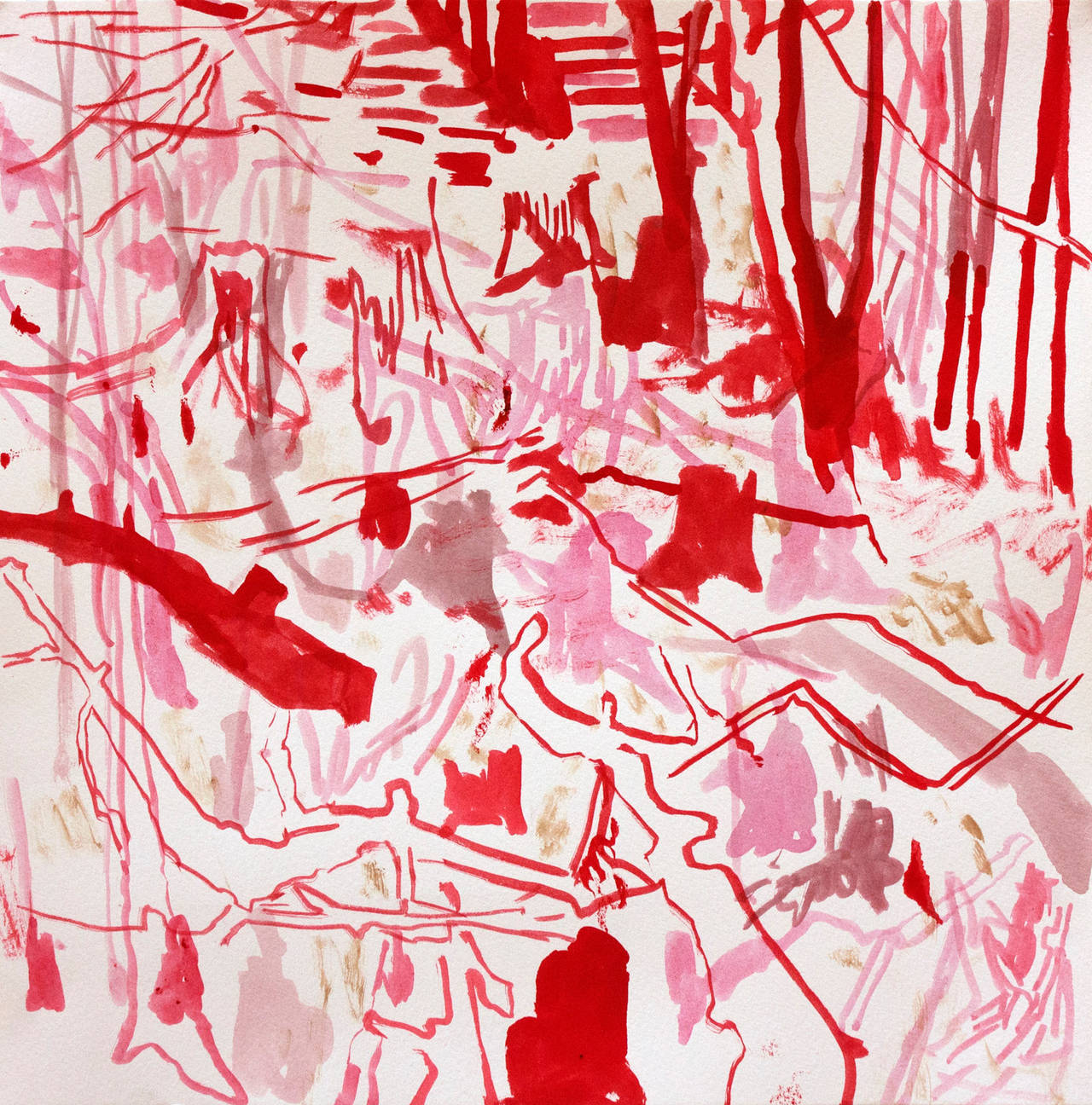 Red Pink Forest Floor