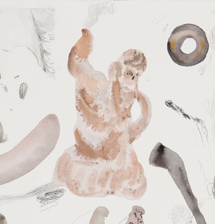 Untitled (Men In Museums III) - Gray Figurative Art by Guðmundur Thoroddsen