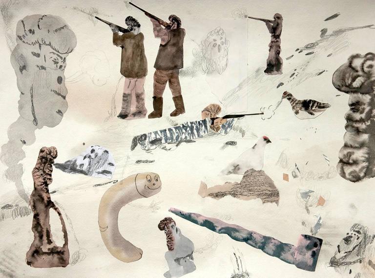 Guðmundur Thoroddsen Figurative Art - Ptarmigan Hunt II